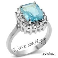 Women's Radiant Cut Aquamarine CZ Stainless Steel Engagement Ring Band Size 5-10