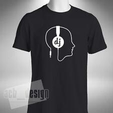 DJ Cuffie Testa Da Uomo T-Shirt DISCOTECA Old Skool VINILE Junkie CRATE Digger