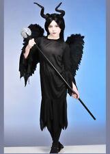 Niños Disfraz De Reina maléfica estilo gótico con alas vestido, alas y cuernos