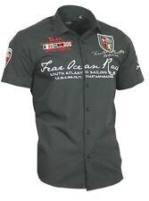 Viga reticulada de Luxe camisa polo shirt bordadas Stick camisa para hombre manga corta 80601 negro