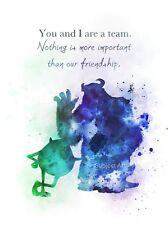 ART PRINT Monsters Inc. inspired Quote illustration, Disney, Wall Art, Gift