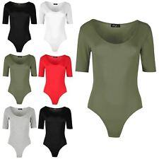Womens Ladies Scoop Neck Plain Slim Fit Cap Sleeve Top Bodysuit Jersey Leotard