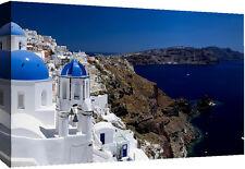 Santorini Greece Landscape Cotton Canvas Wall Art Picture Print- A1, A2 sizes