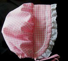 Baby Bonnet Sunbonnet Sunhat PINK GINGHAM Bonnet sz nb,3,6,9,12,18 mo