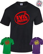 Evil dentro de T-Shirt Hombre Mujer Goth Rock Punk Metal Terror de Zombie Negro Púrpura