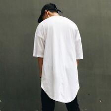 Unisex Oversize T-shirt Asymmetry Hem Hip-Hop Drop Shoulder Half Sleeve Tee Tops