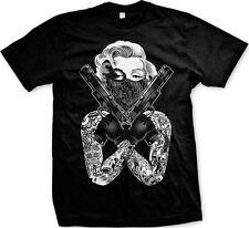 Marilyn Gangster Pose Gun Bandana Swag Dual Weild  Mens T-shirt