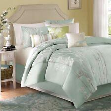 Beautiful 7 Pc Chic Soft Sea Blue Mist Green White Leaf Modern Comforter Set