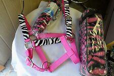 Showman Adj Nylon Zebra Horse Halter/Matching Lead & Polo Wraps! PINK! FREE SHIP