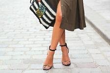 Zara pelle Leopardata Pelo Cinturino Alla Caviglia Tacco Alto Sandali Taglia