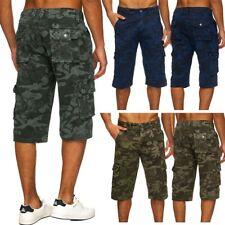 Herren Camouflage 3/4 Cargo Chino Shorts Army Hose Tarnmuster Capri Bermudas AS
