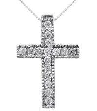 14k White Gold Milgrain Edged Diamond Cross Pendant Necklace (Small)