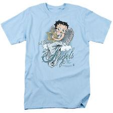 Betty Boop I Believe In Angels Mens Short Sleeve Shirt LIGHT BLUE