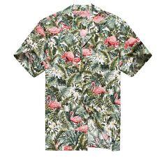 Made in Hawaii Men Aloha Shirt Luau Cruise Party Pink Flamingo Jungle White