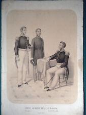 M Marina Borbonica Napoli litografia originale 1855 Zezon navy Borboni