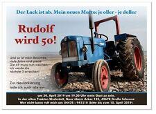 Geburtstagseinladung Traktor Trecker lustig originell Agrar 20 30 40 50 60 Bauer