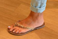 LAZAMANI Damen Schuhe Pantolette Zehentrenner flach beige Perlen NEU REDUZIERT
