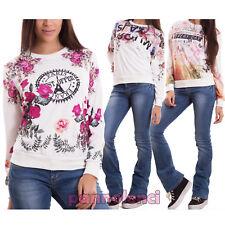 Felpa donna maglia maniche lunghe varie fantasie fiori scritte nuova CR-1977