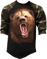 New Men's Grizzly Bear Camo Baseball Raglan T Shirt Wildlife Beast Panda Animal