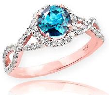 Rose Gold Aquamarine Birthstone Infinity Ring with Diamonds Engagement Wedding