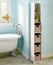 Slim Wood Storage Tower WHITE Cabinet or 2 Baskets Bathroom Kitchen Apartment