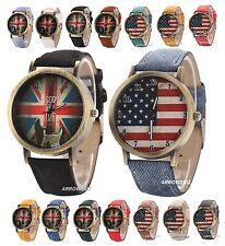 UK / USA Flag Dial Display Denim Fabric Strap Analog Antique Wrist  Watch Quartz
