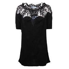 C4356 maglia donna BLUMARINE pizzo nero t-shirt woman
