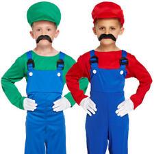 Super Workman Kids Fancy Dress Mario Luigi Boys Girls Video Game Plumer Costumes