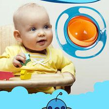 US Kids Baby Gyro Bowl Food Avoid Spill Resistant Self Feeding Rotation Tool UFO