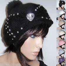 Cappello Donna Lana D Angora NERO TANTI COLORI ENTRA Casuale e Elegante  D0280 91d1ec4886f5