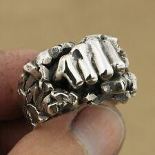 Powerful Fist Breaking Stone 925 Sterling Silver Mens Biker Punk Ring TA77C