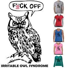 Funny T-Shirts Irritable owl Syndrome Rude tshirt Singlet Size Mens Ladies  tee