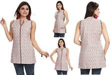New Cotton Shirt Dress Women Sleeveless Indian Kurta Kurti Dress Top Shirt MM98