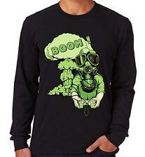 Velocitee Boom para hombre Manga larga Camiseta gamer juegos de guerra nuclear Apocalipsis V35