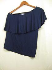 NWT Chaps by Ralph Lauren Women's Ruffle Collar Blue One Shoulder Sleeveless Top