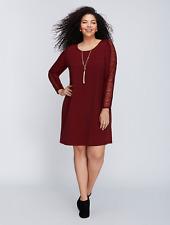 LANE BRYANT Swing Dress w/ Eyelash Lace 14/16 18/20 22/24 Plus Burgundy 1x 2x 3x