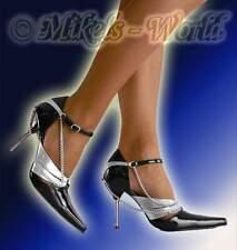 S-High Heels - Luxus Lack Pumps Star schwarz-silber