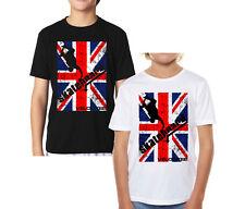 Velocitee Kids T-shirt Royaume-Uni Skateboard internationale Skateboarding GB Drapeau V204