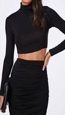 Womens Ladies Long Sleeved Polo Crop Top