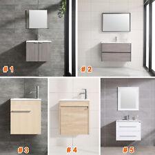 Wall Mount Bathroom Vanity Single Wood Cabinet + Undermount Resin Sink + Faucet