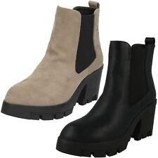 Ladies Spot On Platform Ankle Boots