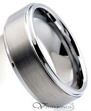 Mens Tungsten Carbide Wedding Band Satin Center Ring Size 7.5 to 14.5