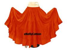 Orange Belly Dance Cotton 10 Yard 4-Tier Skirt Gypsy 30 Color