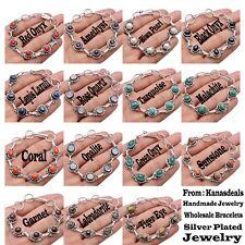 Tiger Eye Labradorite Garnet Sunstone & More 925 Silver Plated Handmade Bracelet