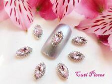 3D Nail Art Pale Pink Almond Eye Rhinestone Silver Frame Jewels Gems Alloy Metal