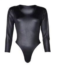 New Women Ladies Wet Look Long Sleeve Pvc Pu Bodysuit Top PLUS SIZE 8-22