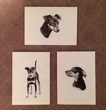 Set of 6 or 12 Handmade Blank Miniature Pinscher Dog Print Note Cards