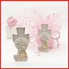 Bomboniere battesimo bimba rosa statuina fonte battesimale in resina 7x3.5cm