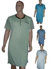 Herren Nachthemd kurzer Arm KnopfleisteSchlafshirt  Baumwollmischung Gr. M-XXXL