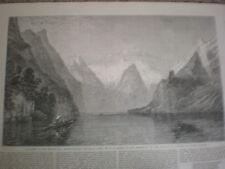 ALBA SUL KONIG vedere Berchtesgaden da W C Smith 1864 old print e l'articolo